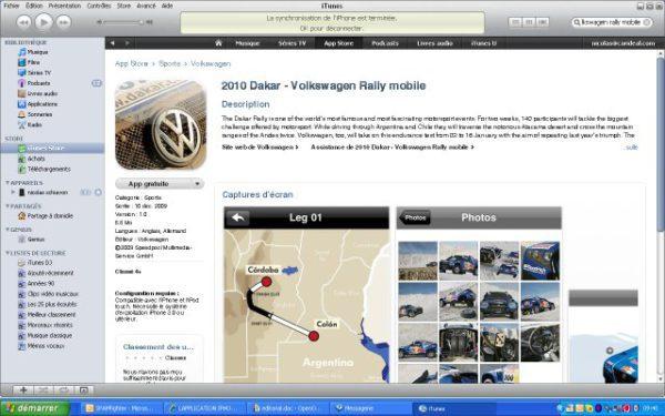 Volkswagen sort une application sur Iphone pour le Dakar 2010