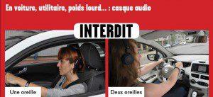 Casque audio interdit au volant