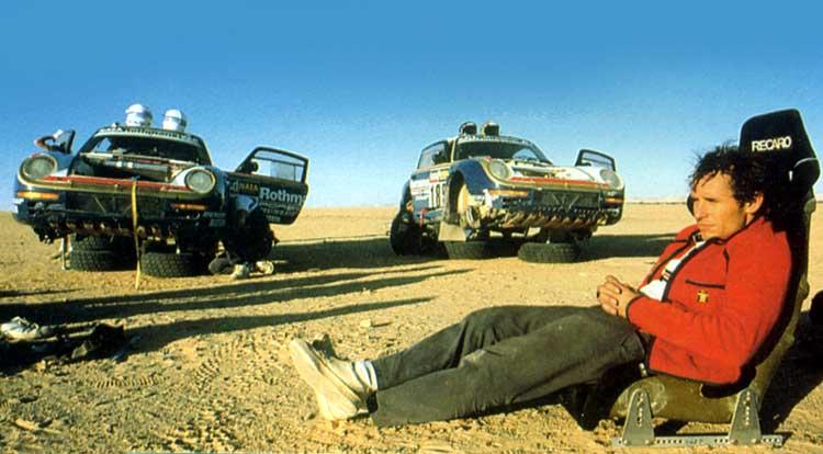 Jacky Ickx au rallye Dakar sur Porsche