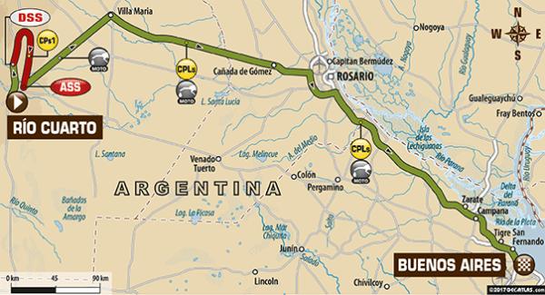 Le parcours de la douzième étape du Dakar 2017 avec son arrivée à Buenos Aires