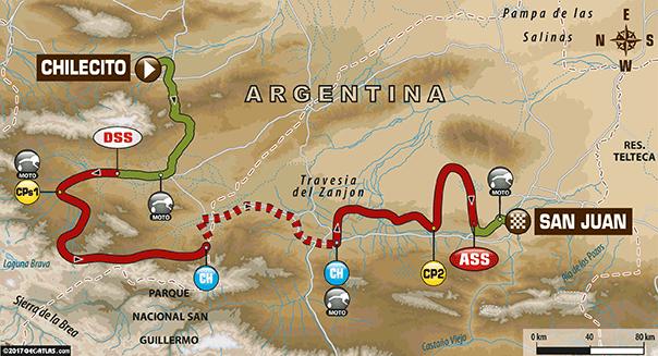 La carte du Parcours de l'étape 10 du Dakar 2017