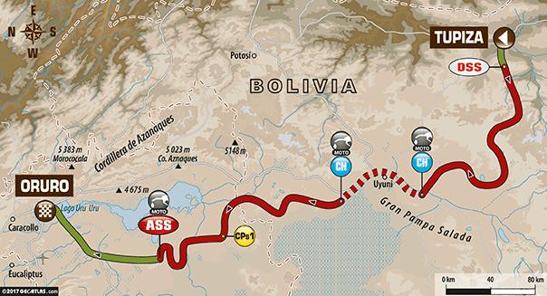 Parcours de la cinquième étape du Dakar 2017