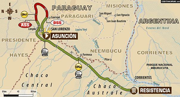 Parcours de la première étape du Dakar 2017