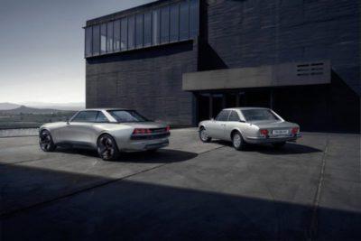 Les feux arrière à triple griffe de l'e-Legend donnent également une touche moderne au style de la 504 (Crédit: Peugeot)