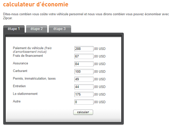 calculateur d'économies zipcar